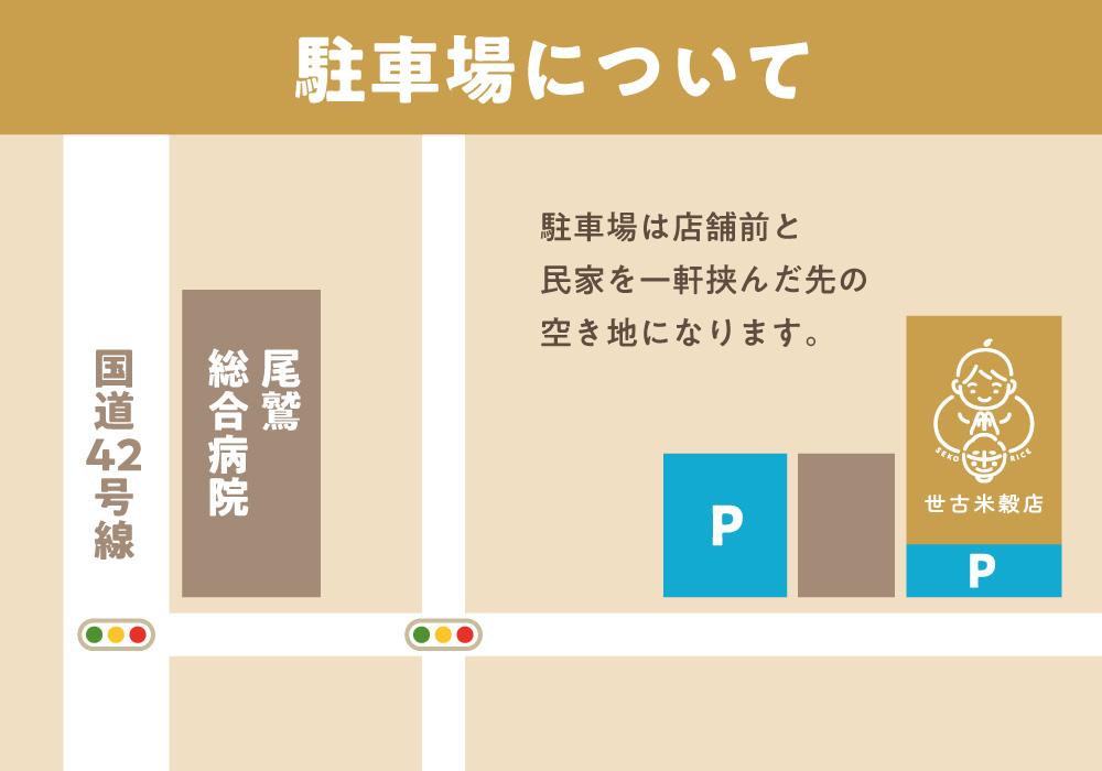 世古米穀店の駐車場地図